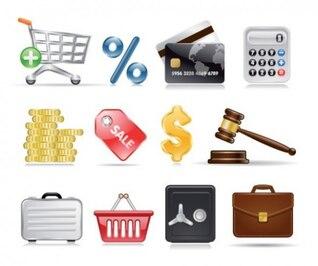 Ecommerce realista e ícones de compras definido