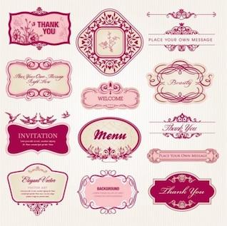Frames florais e vintage rosa elegantes