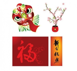 quatro elementos de estilo chinês