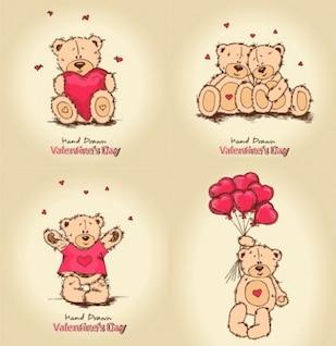 Ursos de peluche com corações de valentine