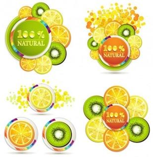 Fatias de frutas em quatro arranjos