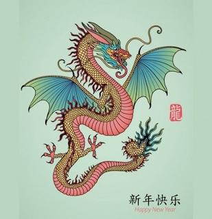 Arte vetorial legal dragão chinês