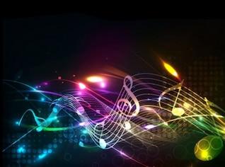 Bela música notas linhas de fundo vector set