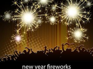 Fogos de artifício de ouro o ano novo comemorando vetor multidão