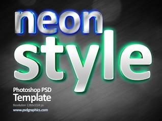 Neon estilo de texto leve, modelo PSD