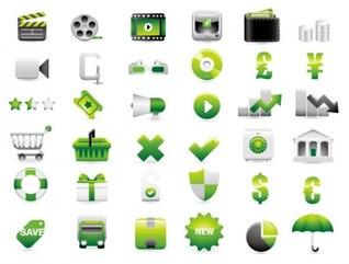 verde site de compras de material de decoração vetor ícone