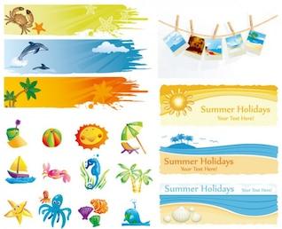 lindo de verão de material vetor elemento