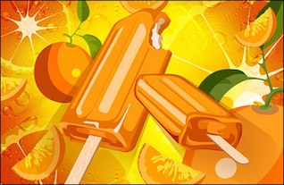 fundo laranja e picolés psd material em camadas