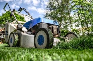 Cortador de grama no jardim