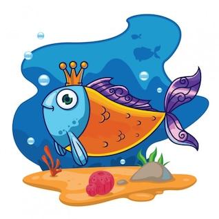 Ilustração bonito do rei dos peixes sob a água