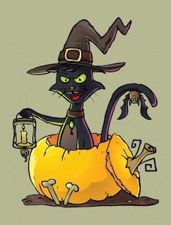 Gato preto com chapéu de bruxa