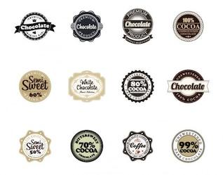 vetor emblemas de chocolate