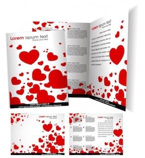 Modelo de brochura vetor com coração do amor