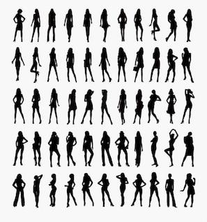 conjunto de vetores de silhuetas mulher