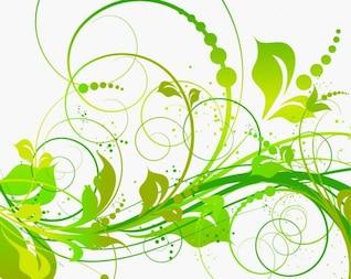 Verde floral do ícone do vetor pacote