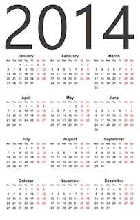 Simples calendário 2014