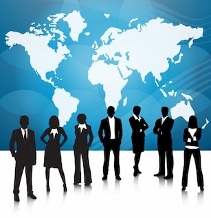pessoas de negócios da equipe com o mapa do mundo