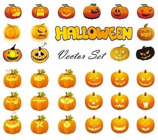 Halloween Pumpkins coleção vetor mista mega-