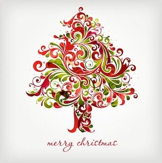 árvore redemoinhos floral para o Natal gráfico vetorial