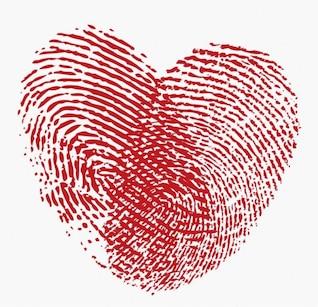 impressão digital coração do vetor gráfico