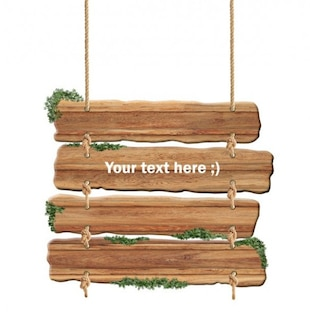 pendurado sinal prancha de madeira psd