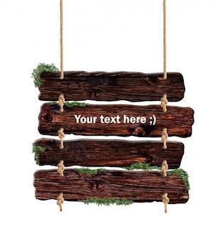 pranchas de madeira escuros pendurados sinal psd