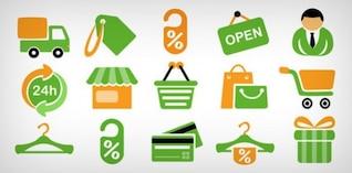 ícones de compras de comércio eletrônico psd