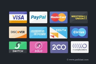 Cartão de crédito, ícones pagamento PSD definir
