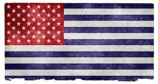 bandeira dos EUA grunge invertido