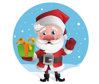 Papai Noel feliz segurando uma caixa de presente