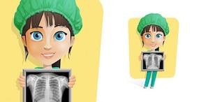 Enfermeira segurando um caráter vetor de raio-x