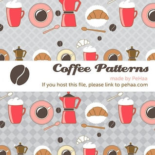 Café e croissants vetor padrão