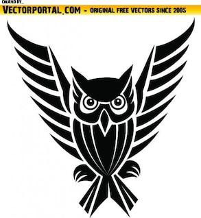 Coruja tribal com asas longas