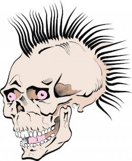 Estranho crânio do punk estilo do ícone do vetor