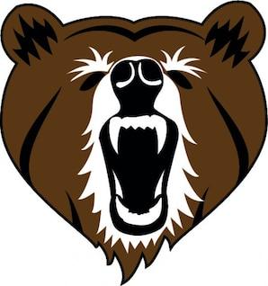 Urso pardo cabeça frontal com a boca aberta