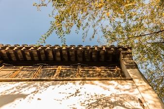 A arquitetura antiga de Huizhou e as folhas amarelas do outono.
