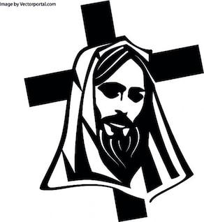 A cabeça de Jesus com a cruz