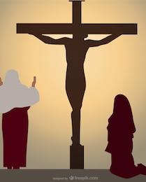 A cena da crucificação ilustração vetorial