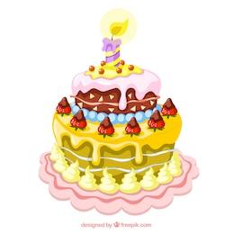 A ilustração de um bolo de aniversário