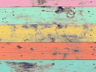 A obra de arte colorida pintada em material de madeira para o fundo do papel de parede vintage.