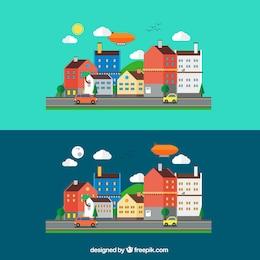 A paisagem urbana em estilo cartoon