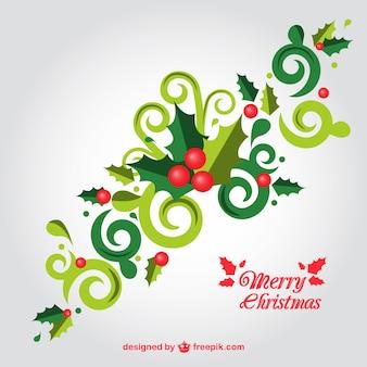 Abstrato folhas do azevinho para o Natal