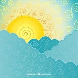 Abstract mar e sol fundo
