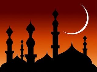 abstrata mesquitas de fundo com a silhueta