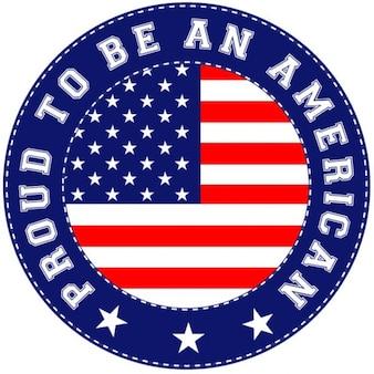 Adesivo circular com bandeira americana