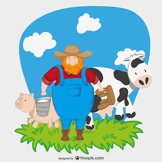 Agricultor personagem de desenho animado