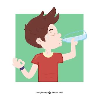 Água potável menino