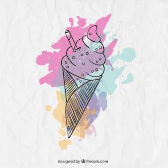 Aguarela sorvete