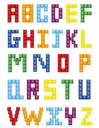 alfabeto bloco colorido de cristal