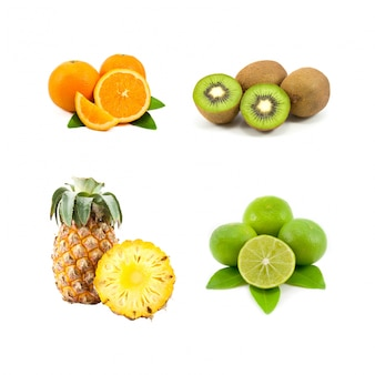 Alimentação saudável limão da folha kiwi divisão